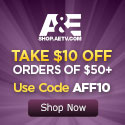 $10 Off at the A&E Shop - plus APO/FPO Shipping!