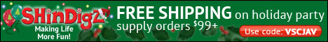 Free Shipping on Holiday Party Supply orders $85+.