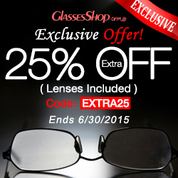 Save an extra 25% off (lenses included) on any order at GlassesShop.com with code EXTRA25