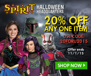 Get 20% Off Any One Item at Spirit Halloween! Use code: 20FORU2015. Limited time offer - Shop now!