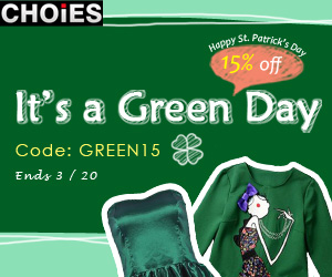 St. Patrick's Day 15% off at Choies, free shipping worldwide