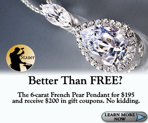 Buy a pear necklace at Stauer and get $200 GC