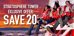 Save 20% on the Stratosphere Tower Unlimited Rides Pass!