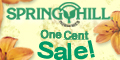 one cent sale on various flowering plants and garden supplies.