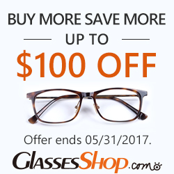Buy More Save More –Up to $100 Off At GlassesShop.com Promo ends 5/31/2017