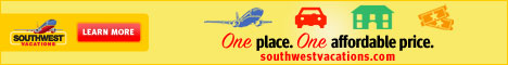 Southwest Airlines Vacations - Offering complete vacation packages to Las Vegas, Orlando, Hawaii and many other domestic destinations. Include cheap airline tickets, hotel, rental car, activities and attractions