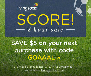 Living Social Flash Sale | $5 Off $15 Starts at Noon!