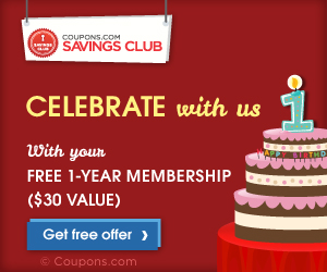 Sign up to get a  FREE 1-year Coupons.com Savings Club Membership where you can get VIP access to members-only grocery coupons!  Sign up and get your FREE 1-year membership today!