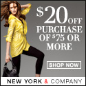 $20 Off Purchase $75 or more at NYCO thru 2/28