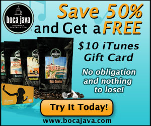 itunes Gift Card with Boca Java coffee