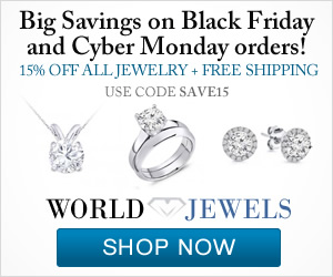 15% on all Jewelry with code SAVE15. Big Savings on Black Friday and Cyber Monday.