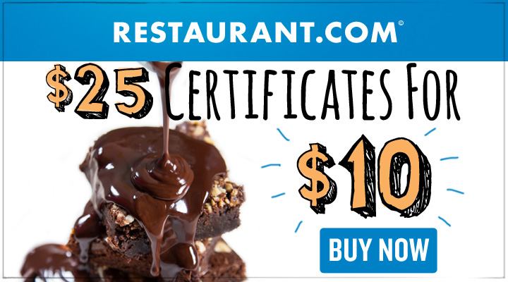 Save 50% on your next meal at a restaurant in your town. restaurant.com gift certificates sell for half their face value.  Redeem these certificates at restaurants near you!