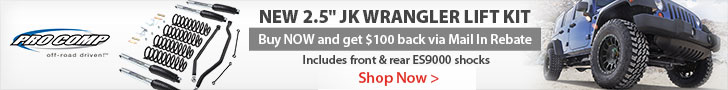 Get a $100 rebate on purchase of select Jeep JK Suspension systems