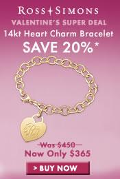 Save 20% off 14kt Heart Charm Bracelet