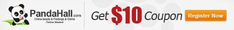 Obtenez un coupon de 10$ lors de votre inscription au site de pandahall.com. Inscrivez-vous et magasinez!