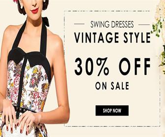 30% OFF ON SALE-SWING DRESSES-VINTAGE STYLE