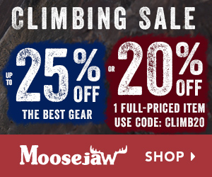 Climbing Sale! Up to 25% Climbing gear or 20% Off One full-priced item using code CLIMB20.