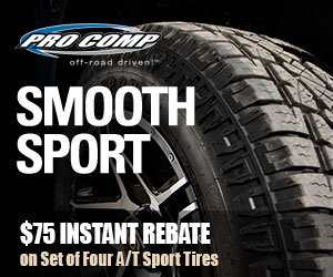Save $50 on a set of 4 Pro Comp AT Sport or Xtreme MT2 Tires