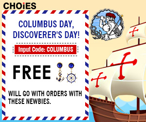 Free Earrings on any orders on New Autumn Arrivals marked Columbus at CHOiES! Use code COLUMBUS. End