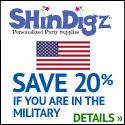 Shindigz Save 20% Military Discount