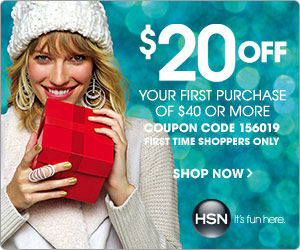 $20 off your first purchase of $40 or more at HSN.com!