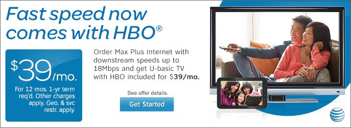 AT&T - Max Plus Internet plus U-basic TV with HBO.