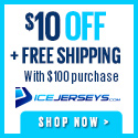 Get $5 OFF & Free Shipping on NHL Hockey Jerseys and Apparel at IceJerseys.com! Valid on orders over $100 - Coupon Code 5OFF100