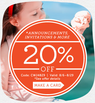 Save 20% on Announcements, Invites, Save-the-Dates, Photo Cards & Note Cards at Cardstore! Use Code: