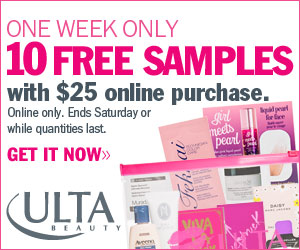 One Week Only! 10 FREE Samples with any online pur