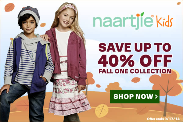 Fall Sale! Up to 40% Off Fall 1 Collection at Naartjie Kids. Offer valid 9/4/14-9/17/14. Shop Now!