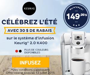 Spécial - Cafetière Keurig 2.0 K400 à 30$ de rabais