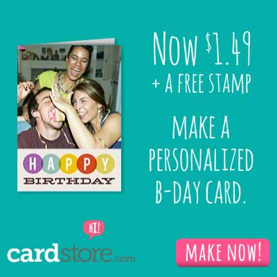 $1.49 Folded Cards + Free Stamp when you let us mail it for you at Cardstore! Use code: CCJ3718 at c