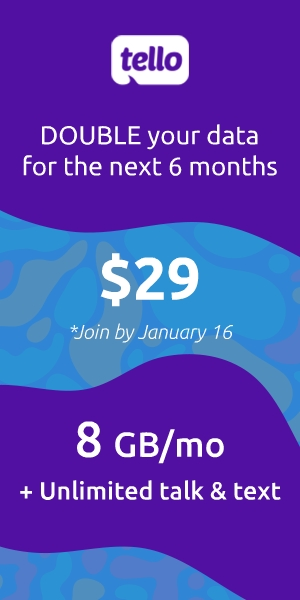 Double your Data With Tello Mobile for the next 6 months for any plan between 200MB - 10GB