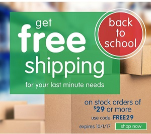 Free Shipping On Stock Orders Over $29 Or More For Your Last Minute Back To School Needs!