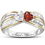 Two Hearts Become Soul Mates Topaz & Garnet Engraved Ring