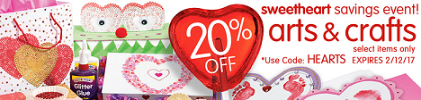 Sweetheart Savings Event - Save 20% Off Select Arts & Crafts & Get Free Shipping On Orders Over $99
