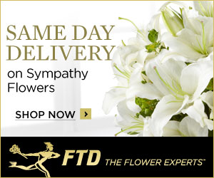 Same Day Delivery on Sympathy and flowers. 300 x 2