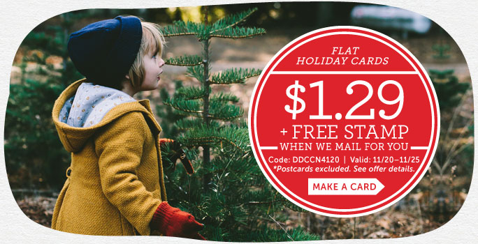$1.29 Flat Holiday Cards + FREE Stamp When We Mail For You at Cardstore! Use Code: DDCCN4120