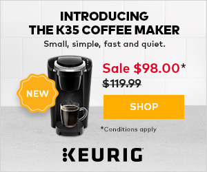 A Little Bundle of Joy! Introducing the Keurig K35 coffee maker: small, simple, fast and quiet. On s