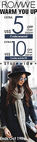 Save up to $10 off orders $109+ at ROMWE.com! Click for details – ends 10/19