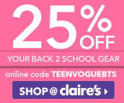 25% off Back to School items with code TEENVOGUEBTS. Expires 9/30.