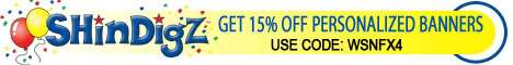 Get 15% off personalized banners at Shindigz