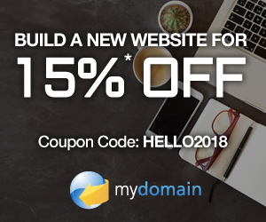 Limited Time Offer! Save 15% on new products and services at MyDomain! Use code: HELLO2018.