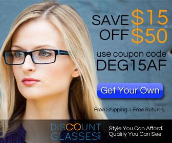 $15 off $50 at DiscountGlasses.com