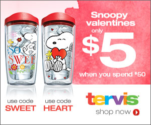 Receive a $5 Snoopy Valentine's Design When You Spend $50 at Tervis.com