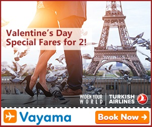 Vayama - Turkish Airlines: Take your special someone on a memorable trip for Valentine's Day!
