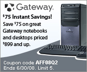 $50 off on Gateway PC's $999+/ $30 off on PC purch