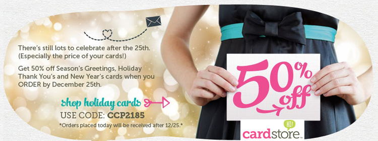 50% off Holiday Cards + Free Shipping, Use Code: CCP2185, Valid through 11:59pm PST 12/25/12.