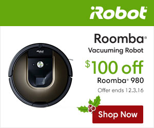 Save $100 on an iRobot® Roomba 980 Vacuuming Robot & Get Free Shipping on All Robot Orders!