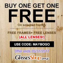 Buy One Get One Free At GlassesShop.com Promo ends 5/31/2017
